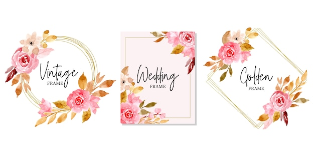 Golden wedding frame with watercolor floral collection