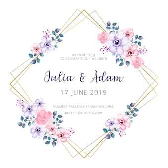 Golden wedding frame with watercolor flowers