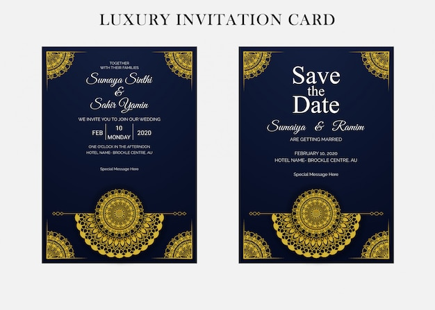 Golden wedding invitation card design template with mandala style