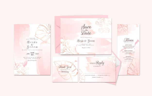 Golden wedding invitation card template suite with floral outline and watercolor brush stroke.