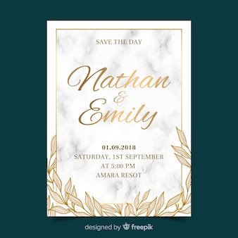 Golden wedding invitation template