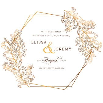 Золотое свадебное приглашение