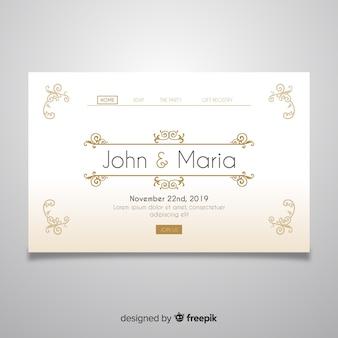 Golden wedding landing page template