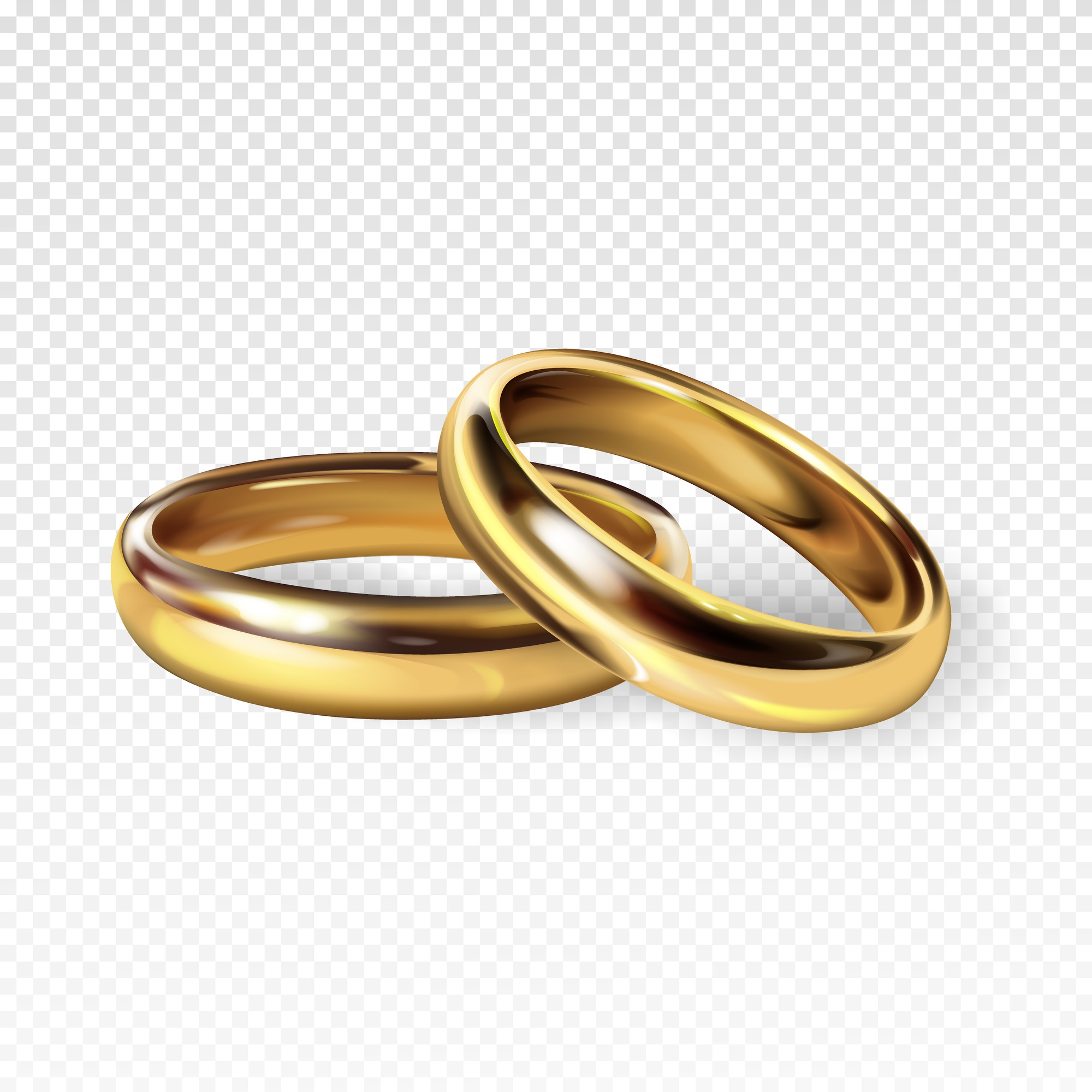 Golden wedding rings 3d realistic illustration for engagement