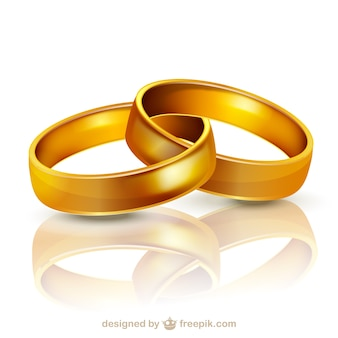 Golden wedding rings illustration