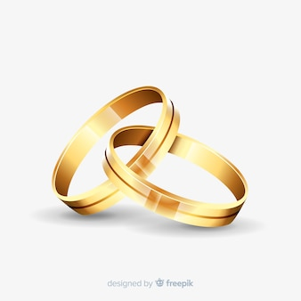 Golden wedding rings in realistic style