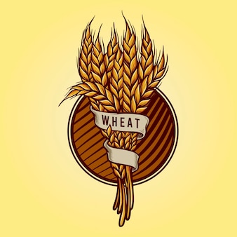 食品事業のための黄金の小麦のロゴ