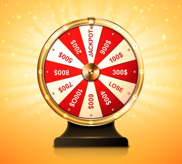 Golden wheel of fortune for lottery game or casino chance to win prize in lucky roulette