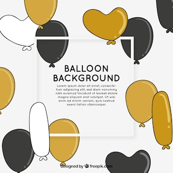 Golden, white and black balloons background to celebrate
