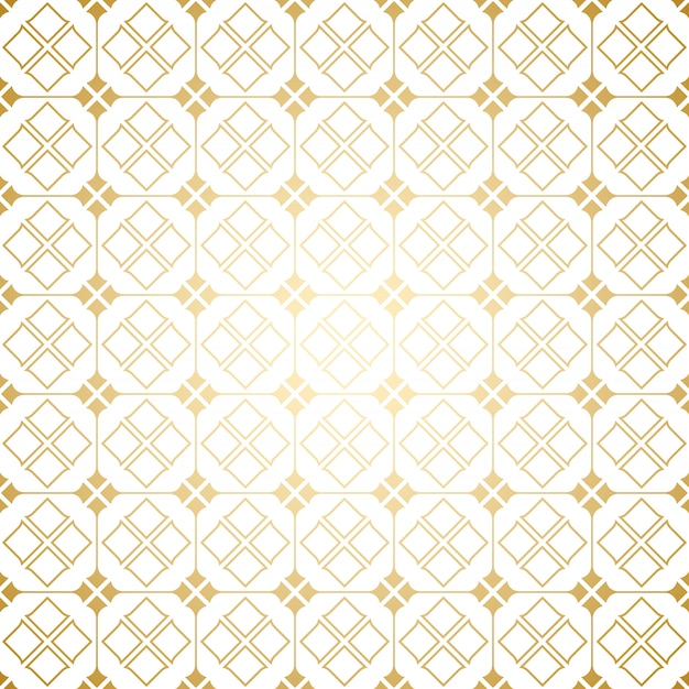 Golden and white art deco geometric seamless pattern