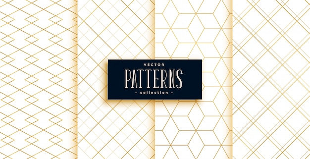 Golden and white geometric art deco patterns