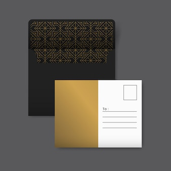Golden and white postcard with a golden geometric pattern