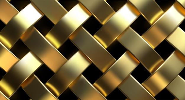 黄金の籐パターン。 3 dのリアルなイラスト。贅沢な織りの質感。メタリック織りのリボン。抽象的なジュエリーの背景