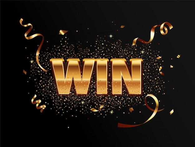 Golden win banner for winners.