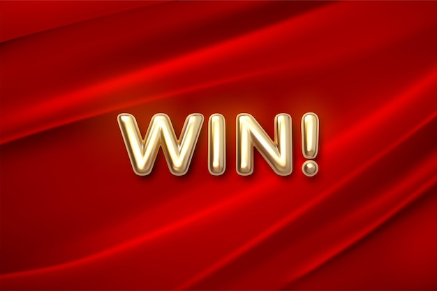 Golden win sign on red fabric background