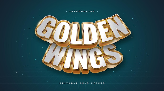 Golden wings text in white and gold style with 3d and curved effect. editable text effect