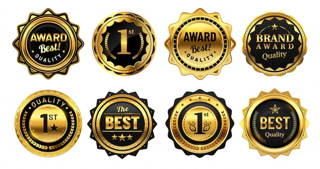 Golden winner badges. retro gold quality stamp, exclusive circle badge and heraldic award vector illustration set