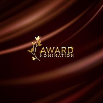 Золотой победитель лавровый венок блеск баннер. предпосылка дизайна номинации премии. вектор церемония роскошный шаблон приглашения, реалистичная шелковая абстрактная текстура ткани, номинант на бизнес-приз
