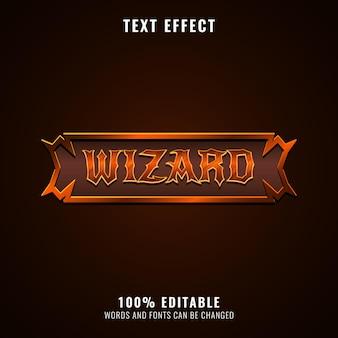 템플릿 프레임 텍스트 효과가 있는 황금 마법사 롤 플레잉 게임 로고