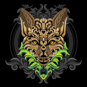 Golden wolf head logo illustration
