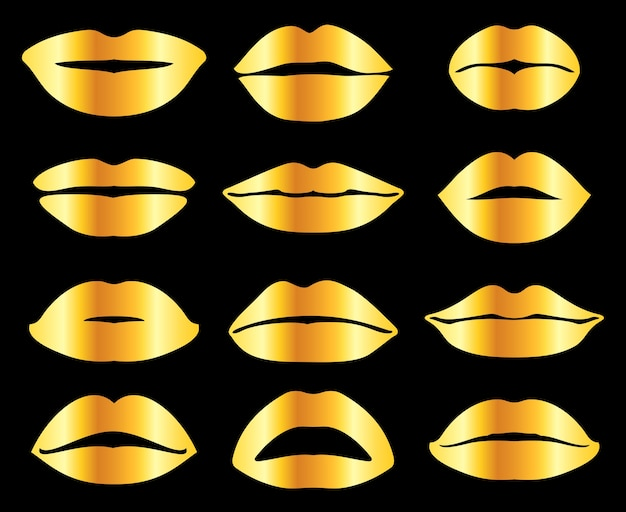 Golden womans lips in misc expression
