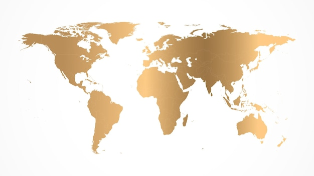Golden world map vector illustration isolated on a white background.