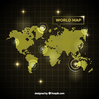 Golden world map with dots