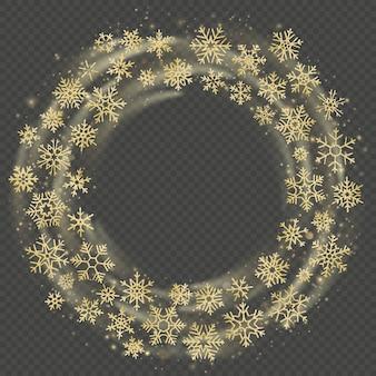 雪の黄金の花輪。クリスマスと新年のお祝いフレームオーバーレイ効果。幸せな休日。