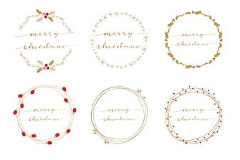 Golden wreath with hand written calligraphy merry christmas