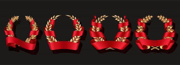 Золотой венок с красными лентами.
