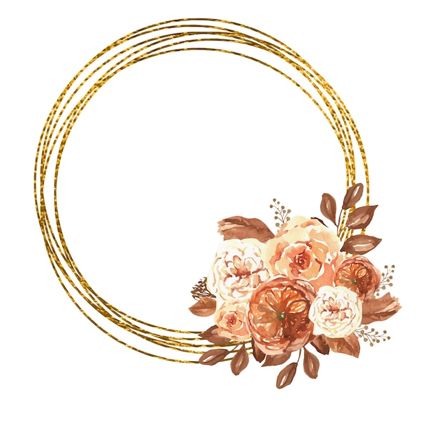 수채화 꽃과 황금 화 환