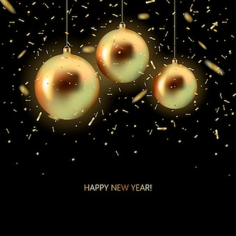 黒の背景に金の輝きと輝く紙吹雪と金色のクリスマスボール