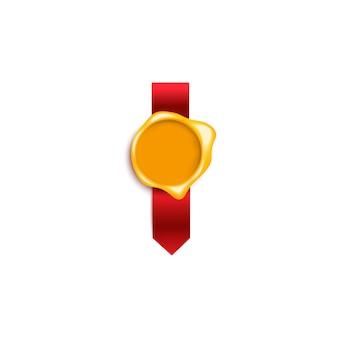 白地に赤いシルクリボンと黄金色の文字のワックススタンプ