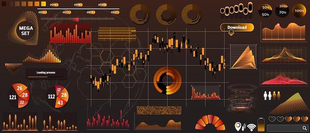 デザインとデバイスアプリケーションのトレンドカラーに設定された黄金色のベクトルhud