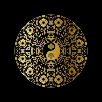 ゴールデン陰陽サインイン曼荼羅の概要黒の背景線形イラスト。