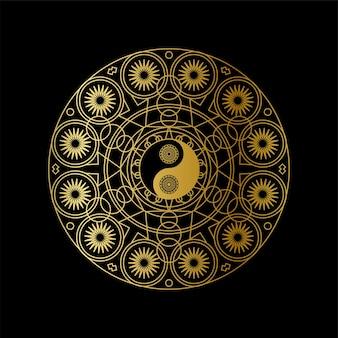 Golden yin yang sign in mandala outline on black background linear illustration.