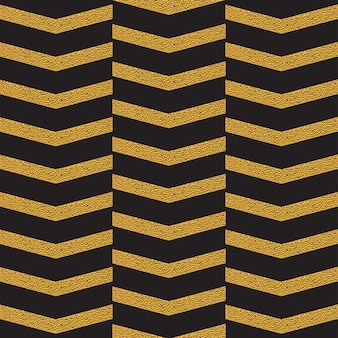 Golden zig zag seamless pattern on black
