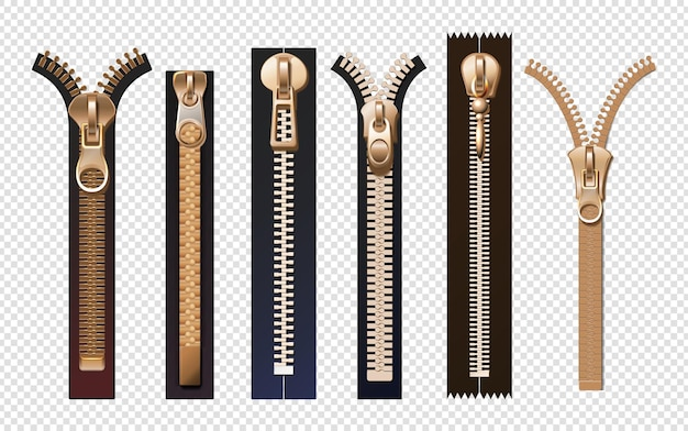 Golden zippers. metal and plastic fasteners with pulls