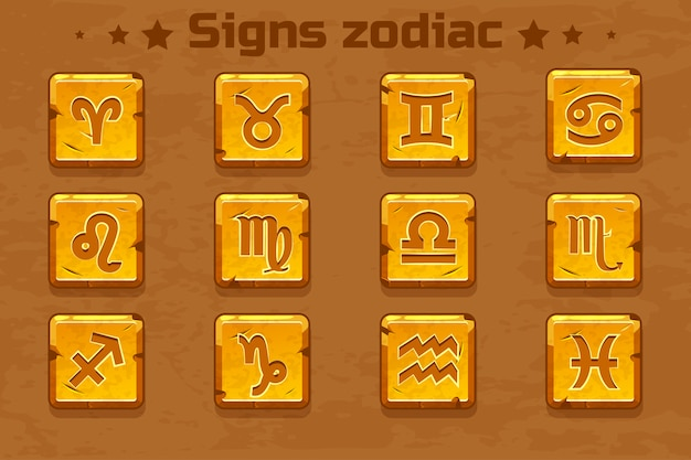 Golden zodiac signs icons