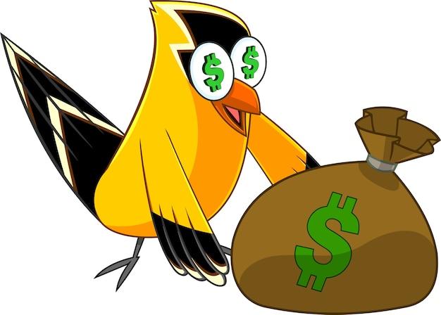Щегол птица мультипликационный персонаж с денежным мешком. иллюстрация, изолированные на белом фоне