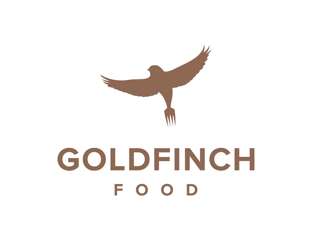 Goldfinch bird and fork food simple sleek creative geometric modern logo design