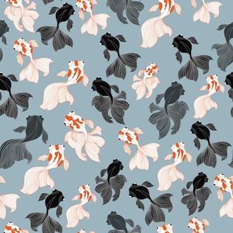 Goldfish and blackmoor  seamless pattern