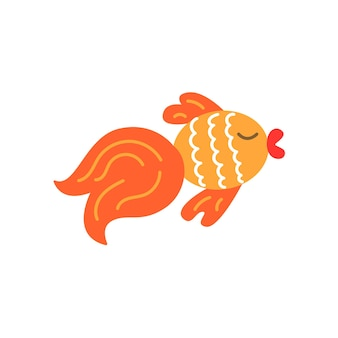 Goldfish in cartoon flat style on white background, vector simple illustration