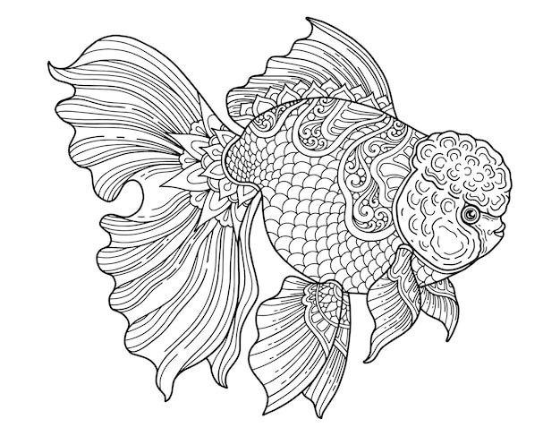 Goldfish coloring page design clear background