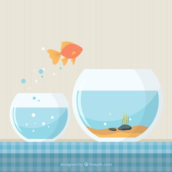 Goldfish jumping out of fishbowl in flat style