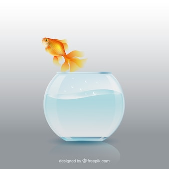 Goldfish jumping out of fishbowl in realistic style