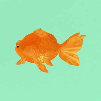 緑の背景に金魚