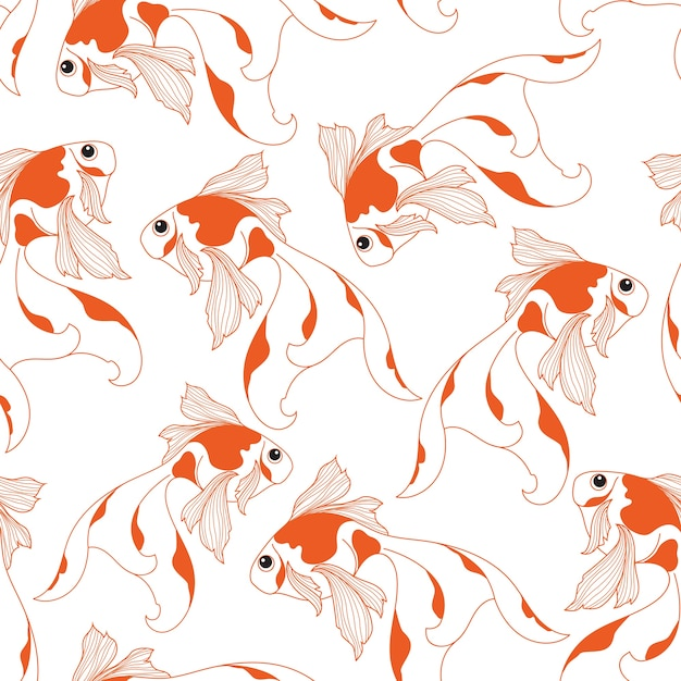 Goldfish seamless pattern on white background