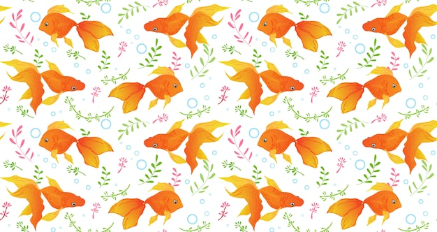 Goldfish seamless pattern