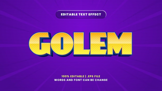 Golem editable text effect in modern 3d style
